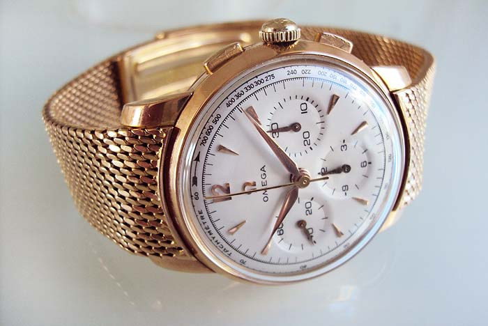 Omega Chronograph Solid 18ktr Caliber 321 Vintage Watches For Sale